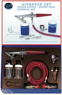 Paasche HS Airbrush Set including all heads, hose and bottles P-HS-SET