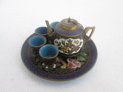 Vintage Chinese Miniature Cloisonne Enamal Tea Set . Pot, Tray & 4 Cups. Fancy.