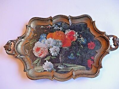 Vintage Italian Small Wood Serving Tray Gold With Flower Print Italy