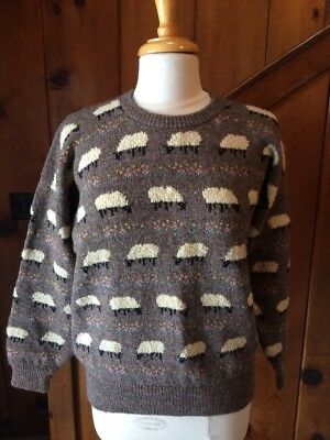 Vintage Wool Knit Sheep Sweater Womens