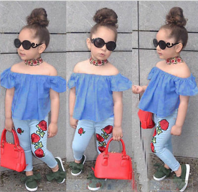 2PCS Toddler Kids Baby Girls Outfits Set Summer T Shirts Tops+Flower Pants 1-7Y