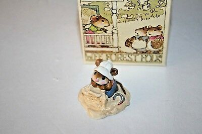 Wee Forest Folk M-76 BEACH MOUSEY Mice WFF Summer Sand Castle boy mouse 1982
