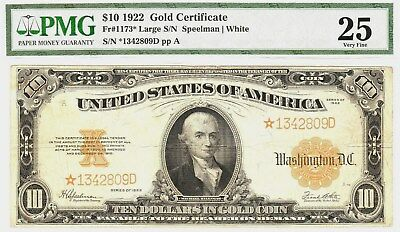"Nice Looking Large1922 ""gold"" {{Star}} Certificate  Pmg Very Fine 25   Fr#1173*"
