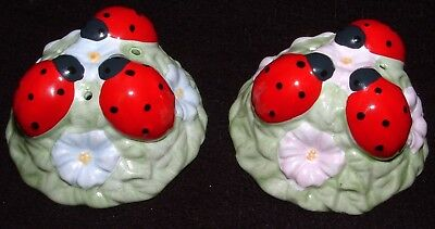 "Lenox Butterfly Meadow Ladybug Floral Salt and Pepper Shakers 2 3/4"" Wide"