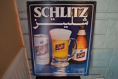 Metal Schlitz Beer Sign in Arabic