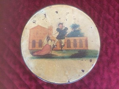 "Antique Round English Victorian Painted Paper Mache Snuff Box ""couple In Garden"""