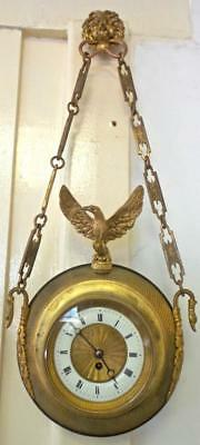 Superb Rare Antique 19th c French Gilt Ormolu Bronze Hanging Cartel Wall Clock