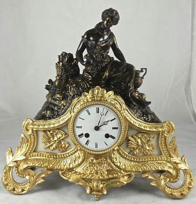 Antique French 19th c Japy Freres Bronze 2 Tone figural 8 Day Bell Mantle Clock