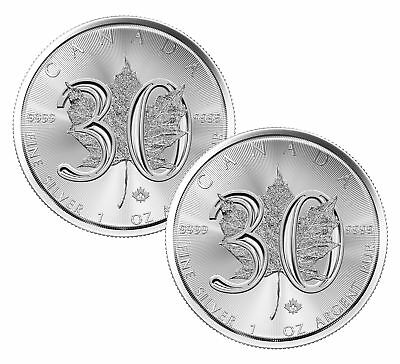 Lot of 2 - 2018 $5 1oz Canadian Silver Maple Leaf 30th Anniversary .9999