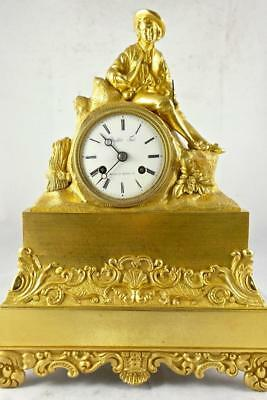 Antique French Empire early 1800's gilt ormolu bronze Figural 8 day mantle clock