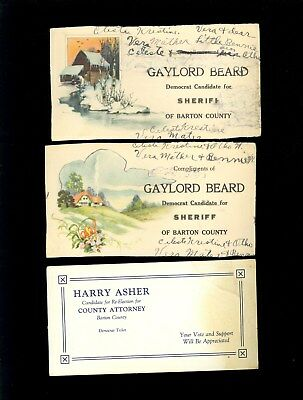 4 Barton Kansas Study Faces Odd Weird 1925 Ink Blotter Advert Sheriff Lawyer Z11