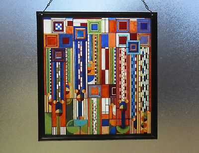 Frank Lloyd Wright Saguaro Stained Glass Metal Framed Hanging Chain Or Stand Up