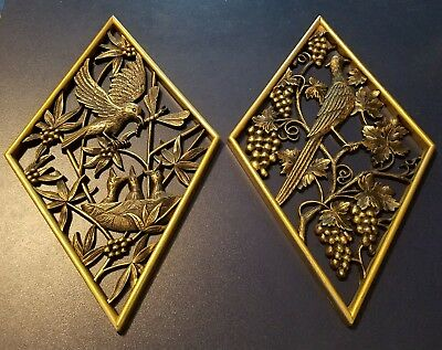 Vintage 1971 Pair BURWOOD PRODUCTS CO Diamond Wall Hangings Gold Birds Grapes