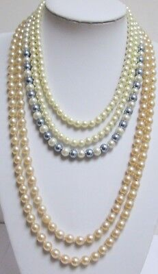 Very long vintage hand knotted pearl necklace + 2