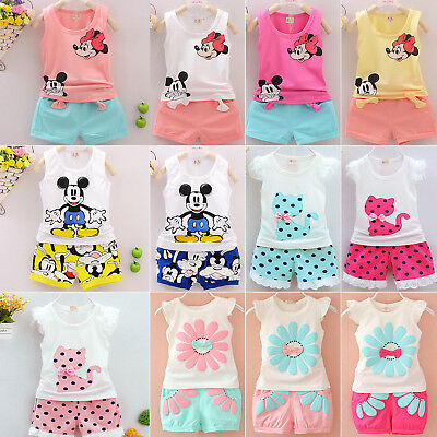 2PCS Toddler Kids Baby Girls Summer Outfits Set T Shirt Tops+Short Pants Clothes