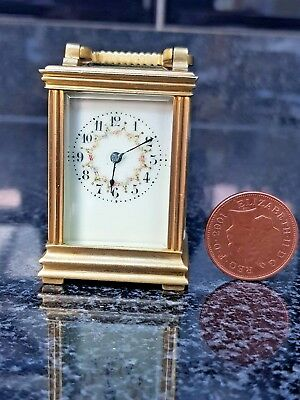 MINIATURE ANTIQUE FRENCH CARRIAGE CLOCK PAINTED DIAL  c.1900