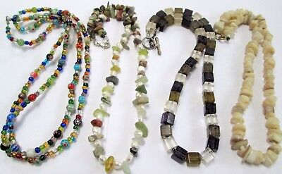 Good vintage cultured pearl & agate bead necklace + 2 glass bead necklaces + 1