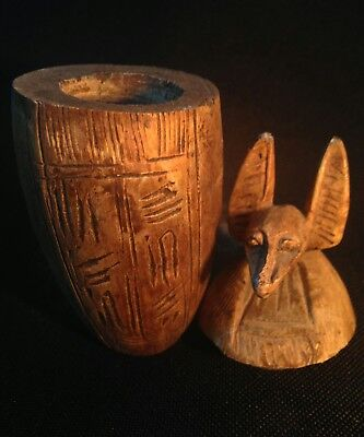 Rare Antique Ancient Egyptian statue canopic jar god Anubis 1279-1213BC