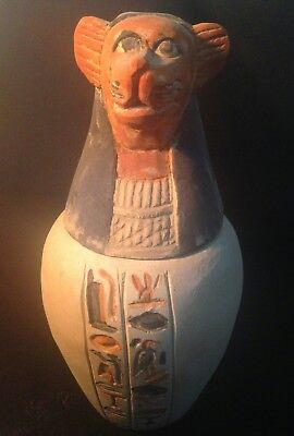 Rare Ancient Antique Egyptian statue limestone canopic jar of hapy son of horus