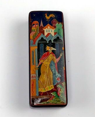 Signed Miniature Russian Hand Painted Rectangular Lacquer Box Fable Scene USSR