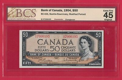 1954 $50 Bank of Canada Beattie-Coyne B/H First Changeover - BCS EF-45 Original