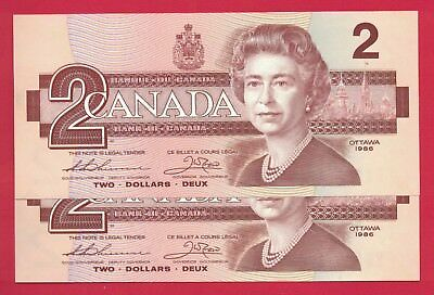 1986 $2 Bank of Canada Thiessen-Crow BBB Large B 2 Consecutive 6682228-9  Ch UNC