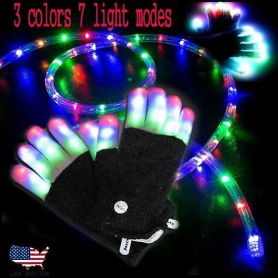 1~2 PCS Magic Black LED Glow Rave Light Flashing Luminous Gloves Halloween Party