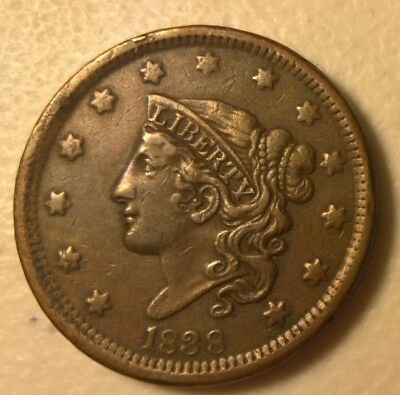 1838 Large Cent Coronet Head Coin