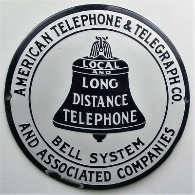 AMER TEL & TEL BELL SYSTEM LOCAL LONG DISTANCE TELEPHONE Hubcap Porcelain Sign
