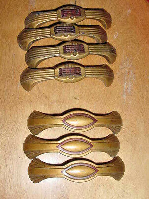 7 Vtg Dresser Metal Hardware Drawer Pulls