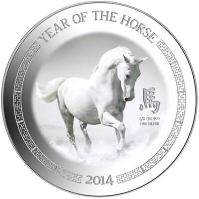 Niue Islands 2014 $1 Lunar Year of the Horse 1/2oz Silver Proof Coin