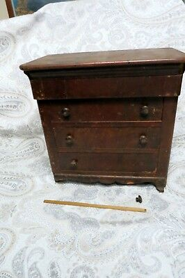 Antique Vintage 19th Century Wood Salesman Doll Toy Dresser Chest Of Drawers