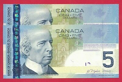 2008 $5 Bank of Canada APM Short Run Prefix 2 Consecutive - Ch UNC