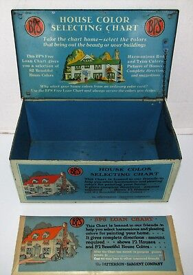 1930 BPS Paint Color Chart Counter Top Tin Litho Display Box w 1 Paint Chart Set