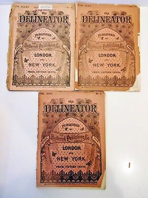 3 Antique Delineator,may, 1883--Sept., 1884--Apr., 1888. Fashions Of The Period
