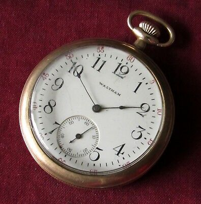 Antique Waltham Pocket Watch 12 size 7 jewels Gold filled case RUNS