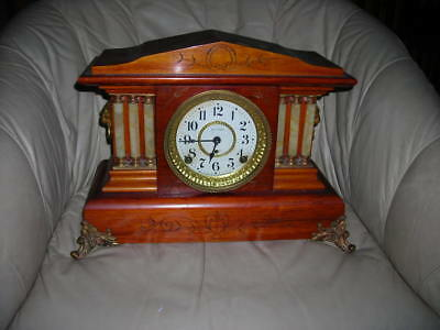 Gorgeous 6 Column Antique Adamantine Seth Thomas Mantle Clock Must C! 15X13X7