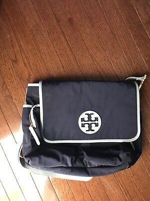 Tory Burch Navy Light Blue Messenger Crossbody Diaper Bag Euc