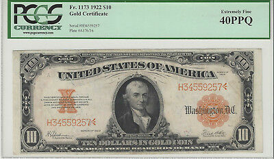 Fr. 1173 $10 Gold Certificate, Series of 1922, PCGS 40 PPQ Large Size Currency