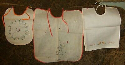 Vintage linen baby bibs with cross stitch or emboidery