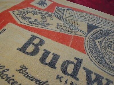 """BUDWEISER Label BEACH TOWEL Vintage Late 1960's 58"""" x 34""""  Used"""