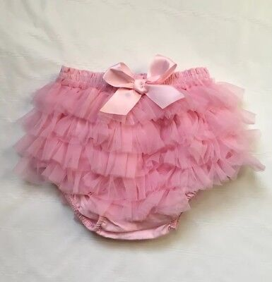 Mud Pie Diaper Cover Pink Tulle Ruffle 0-6 months