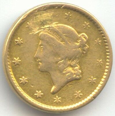 1851 Gold Dollar, Type 1, Fine Details, Hole/Plug, True Auction, No Reserve
