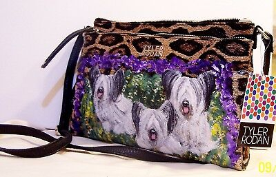 SkyeTerrier hand painted Tyler Rodan medium organizer Handbag dog art original