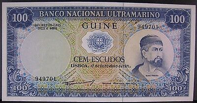 1971 Portugal Guinea 100 Escudos Crisp Lovely Note !  ** FREE U.S SHIPPING **