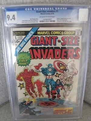 Giant Size Invaders # 1 CGC 9.4 OWW pgs Origin of Cap All WInners 4  Cover swipe