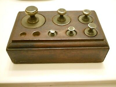 Balance Scale Weights Set Vintage Antique Wood Stand Box