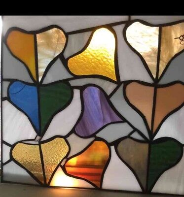 "Hanging Stained Glass Window. 17"" X 16"". Hearts. Ships Free W/ Tracking & Ins."