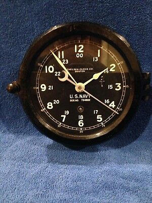 ** Fully Restored**   WWII US NAVY Chelsea Ship Clock serial 75488E