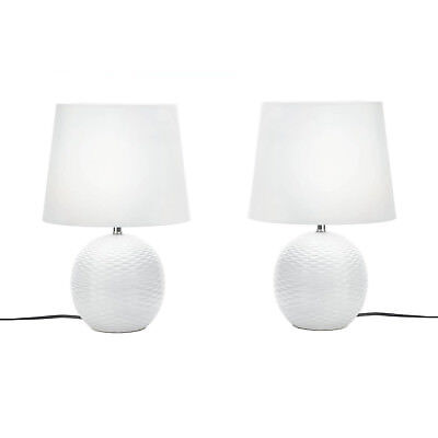 TABLE LAMPS: 2 FAIRFAX Textured Round White Ceramic Base 60W (LED E26) Light NEW